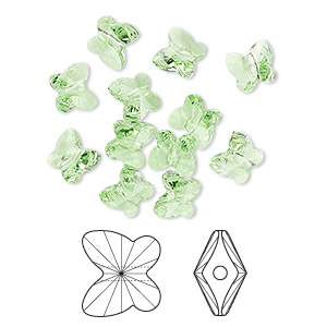 bead, swarovski crystals, peridot, 6x5mm faceted butterfly (5754). sold per pkg of 360.