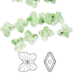 bead, swarovski crystals, peridot, 8x7mm faceted butterfly (5754). sold per pkg of 288 (2 gross).