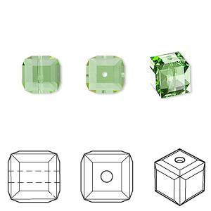 bead, swarovski crystals, peridot, 8x8mm faceted cube (5601). sold per pkg of 48.