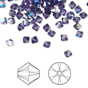 bead, swarovski crystals, purple velvet ab, 4mm xilion bicone (5328). sold per pkg of 1,440 (10 gross).