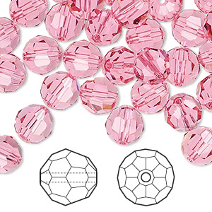 bead, swarovski crystals, rose, 8mm faceted round (5000). sold per pkg of 288 (2 gross).