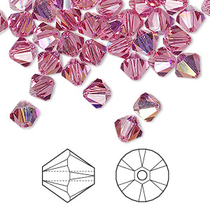 bead, swarovski crystals, rose ab, 6mm xilion bicone (5328). sold per pkg of 360.