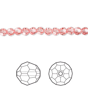 bead, swarovski crystals, rose peach, 4mm faceted round (5000). sold per pkg of 720 (5 gross).