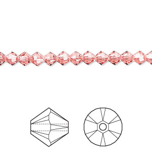 bead, swarovski crystals, rose peach, 4mm xilion bicone (5328). sold per pkg of 1,440 (10 gross).