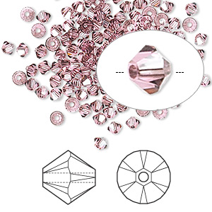 bead, swarovski crystals, rose satin, 3mm xilion bicone (5328). sold per pkg of 144 (1 gross).