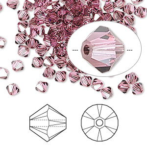 bead, swarovski crystals, rose satin, 4mm xilion bicone (5328). sold per pkg of 1,440 (10 gross).