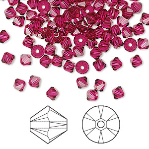 bead, swarovski crystals, ruby, 4mm xilion bicone (5328). sold per pkg of 1,440 (10 gross).