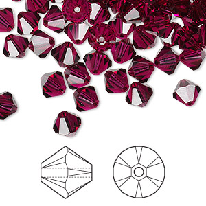 bead, swarovski crystals, ruby, 6mm xilion bicone (5328). sold per pkg of 24.