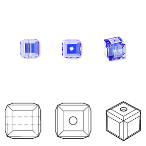 bead, swarovski crystals, sapphire, 6x6mm faceted cube (5601). sold per pkg of 144 (1 gross).