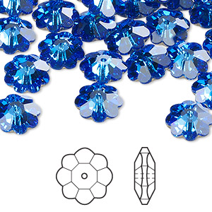 bead, swarovski crystals, sapphire, foil back, 10x3.5mm faceted marguerite lochrose flower (3700). sold per pkg of 12.