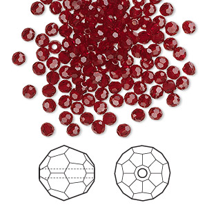 bead, swarovski crystals, siam, 3mm faceted round (5000). sold per pkg of 144 (1 gross).