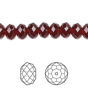bead, swarovski crystals, siam, 8x6mm faceted rondelle (5040). sold per pkg of 288 (2 gross).