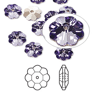 bead, swarovski crystals, tanzanite, foil back, 6x2mm faceted marguerite lochrose flower (3700). sold per pkg of 12.
