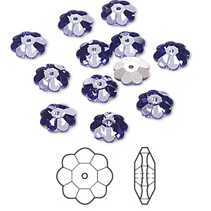 bead, swarovski crystals, tanzanite, foil back, 8x3mm faceted marguerite lochrose flower (3700). sold per pkg of 12.