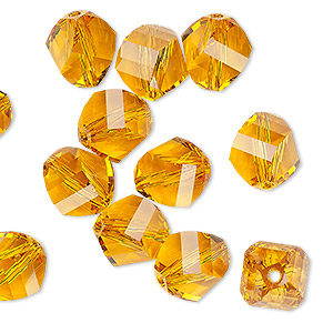 bead, swarovski crystals, topaz, 10mm faceted helix (5020). sold per pkg of 12.
