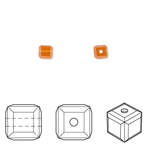 bead, swarovski crystals, topaz, 4x4mm faceted cube (5601). sold per pkg of 288 (2 gross).