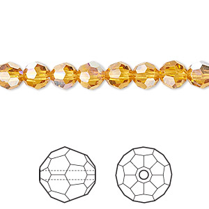 bead, swarovski crystals, topaz ab, 6mm faceted round (5000). sold per pkg of 12.