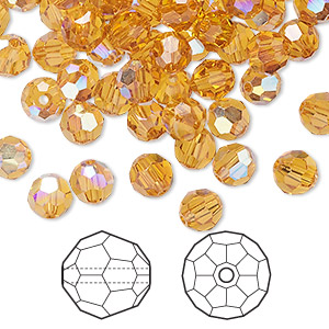 bead, swarovski crystals, topaz ab, 6mm faceted round (5000). sold per pkg of 360.