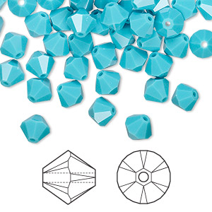bead, swarovski crystals, turquoise, 6mm xilion bicone (5328). sold per pkg of 144 (1 gross).