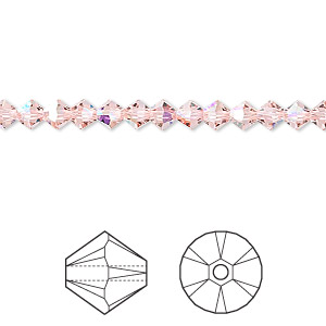 bead, swarovski crystals, vintage rose ab, 4mm xilion bicone (5328). sold per pkg of 1,440 (10 gross).