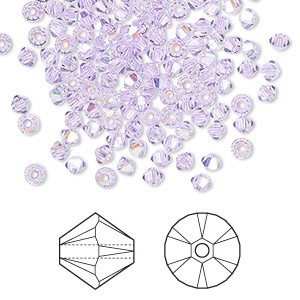 bead, swarovski crystals, violet ab, 3mm xilion bicone (5328). sold per pkg of 48.