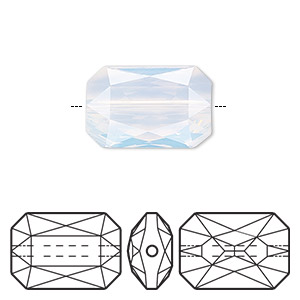 bead, swarovski crystals, white opal, 18x12.5mm faceted emerald cut (5515). sold per pkg of 24.