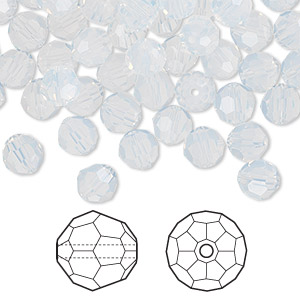 bead, swarovski crystals, white opal, 6mm faceted round (5000). sold per pkg of 360.