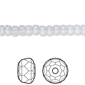 bead, swarovski crystals, white opal, 6x4mm faceted rondelle (5045). sold per pkg of 288 (2 gross).