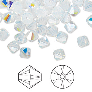 bead, swarovski crystals, white opal ab, 6mm xilion bicone (5328). sold per pkg of 360.