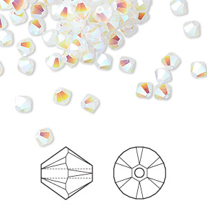 bead, swarovski crystals, white opal ab2x, 4mm xilion bicone (5328). sold per pkg of 48.