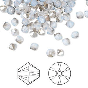 bead, swarovski crystals, white opal satin, 4mm xilion bicone (5328). sold per pkg of 1,440 (10 gross).