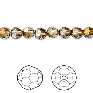 bead, swarovski crystals with third-party coating, crystal mahogany, 6mm faceted round (5000). sold per pkg of 360.