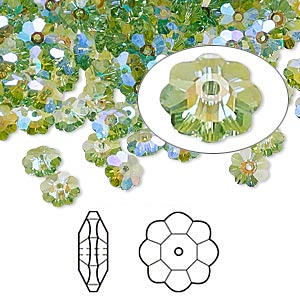 bead, swarovski crystals with third-party coating, crystal passions, peridot glacier blue, 6x2mm faceted marguerite lochrose flower (3700). sold per pkg of 12.