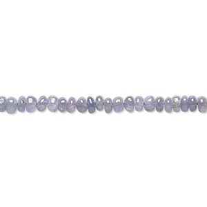 bead, tanzanite (heated), 3x1mm-4x3mm hand-cut rondelle, c grade, mohs hardness 6 to 7. sold per 18-inch strand.