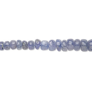 bead, tanzanite (heated), 3x2mm-6x4mm graduated hand-cut rondelle, c grade, mohs hardness 6 to 7. sold per 16-inch strand.