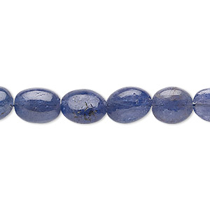 bead, tanzanite (heated), 8x5mm-13x10mm graduated hand-cut puffed oval, c grade, mohs hardness 6 to 7. sold per 7-inch strand.