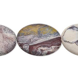 bead, terra rosa jasper (natural), matte, 25x18mm flat oval, b grade, mohs hardness 6-1/2 to 7. sold per 16-inch strand.
