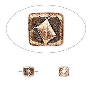 bead, tierracast, antique copper-plated pewter (tin-based alloy), 5x5mm textured cube with 2mm hole. sold per pkg of 4.