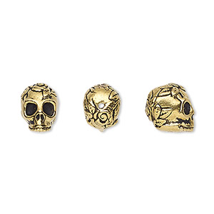 bead, tierracast, antique gold-plated pewter (tin-based alloy), 10x8mm skull with rose and leaf design. sold individually.