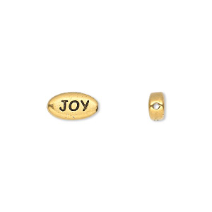 bead, tierracast, antique gold-plated pewter (tin-based alloy), 11x6mm double-sided flat oval with joy and 0.6mm hole sold per pkg of 2.
