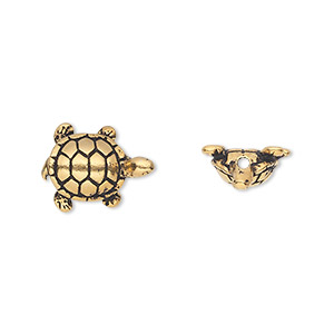 bead, tierracast, antique gold-plated pewter (tin-based alloy), 15x11.5mm turtle. sold per pkg of 2.
