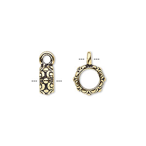 bead, tierracast, antique gold-plated pewter (tin-based alloy), 9.5x4mm beaded rondelle with circles and dots design with closed loop, 6mm hole. sold per pkg of 2.