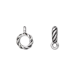 bead, tierracast, antique silver-plated pewter (tin-based alloy), 10x3mm twisted rondelle with loop, 6mm hole. sold per pkg of 2.