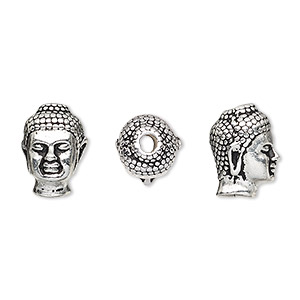 bead, tierracast, antique silver-plated pewter (tin-based alloy), 13.5x9.5mm buddha head with 2.5mm hole. sold individually.
