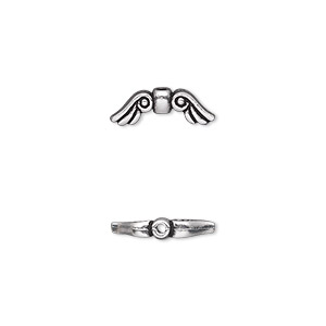 bead, tierracast, antique silver-plated pewter (tin-based alloy), 14x5mm double-sided wings. sold per pkg of 2.
