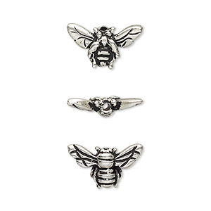 bead, tierracast, antique silver-plated pewter (tin-based alloy), 15.5x9mm honeybee. sold per pkg of 2.