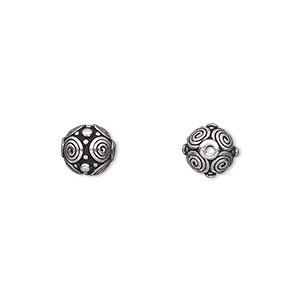 bead, tierracast, antique silver-plated pewter (tin-based alloy), 8mm round with spirals and dots. sold per pkg of 2.