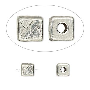 bead, tierracast, antiqued pewter (tin-based alloy), 6x6mm textured cube with 2mm hole. sold per pkg of 2.