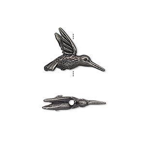 bead, tierracast, black-plated pewter (tin-based alloy), 19x14mm 3d hummingbird. sold per pkg of 2.