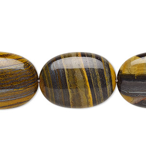 bead, tiger iron and tiger zebra iron (natural), 25x18mm puffed oval, b grade, mohs hardness 7. sold per 8-inch strand, approximately 5 beads.